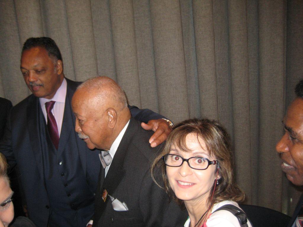 Avec David Dinkins , grand homme qu'elle admire ! trop vite sollicité par les photographes et Jesse Jackson !